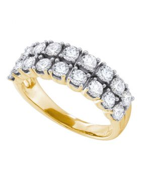 14kt Yellow Gold Womens Round Diamond 2-row Fashion Band Ring 1-1/2 Cttw
