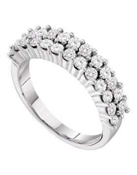 14kt White Gold Womens Round Diamond Double Row Band Ring 1.00 Cttw