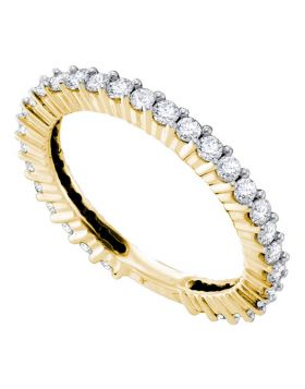 14kt Yellow Gold Womens Round Diamond Single Row Near-Eternity Wedding Band 3/4 Cttw
