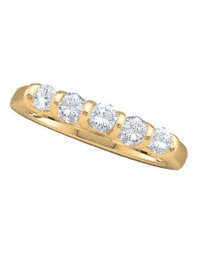 14kt Yellow Gold Womens Round Diamond 5-stone Single Row Wedding Band 1/2 Cttw