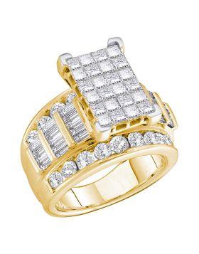 14kt Yellow Gold Womens Princess Diamond Cluster Bridal Wedding Engagement Ring 5.00 Cttw