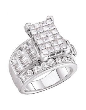 14kt White Gold Womens Princess Diamond Cluster Bridal Wedding Engagement Ring 5.00 Cttw