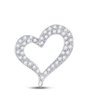 14kt White Gold Womens Round Pave-set Diamond Heart Outline Pendant 1/3 Cttw