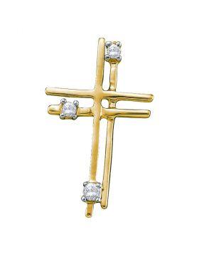 14kt Yellow Gold Womens Round Diamond Simple Layered Cross Pendant 1/20 Cttw
