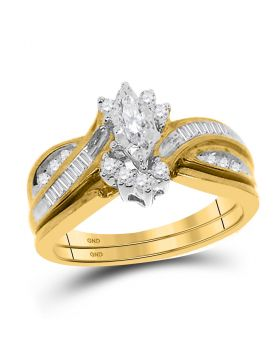 14kt Yellow Gold Womens Marquise Diamond Solitaire Bridal Wedding Engagement Ring 1/3 Cttw