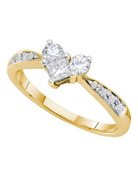 14kt Yellow Gold Womens Princess Diamond Heart Bridal Wedding Engagement Ring 1/2 Cttw