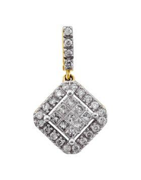 14kt Yellow Gold Womens Princess Round Diamond Diagonal Square Cluster Pendant 1/3 Cttw