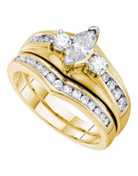 14kt Yellow Gold Womens Marquise Diamond Bridal Wedding Engagement Ring Band Set  Cttw