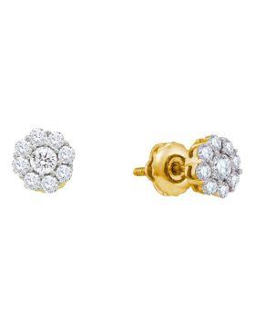 14kt Yellow Gold Womens Round Diamond Flower Cluster Screwback Stud Earrings 1/2 Cttw