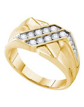 14KT YELLOW GOLD ROUND DIAMOND SQUARE CLUSTER RING 5/8 CTTW