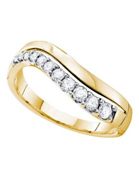 14kt Yellow Gold Womens Round Diamond Curved Single Row Band 1/3 Cttw