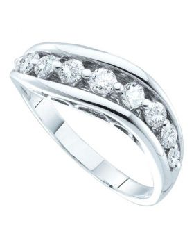 14kt White Gold Womens Round Pave-set Diamond Arched Band 1/2 Cttw