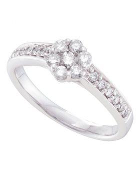 14kt White Gold Womens Round Diamond Flower Cluster Ring 1/2 Cttw