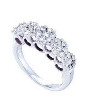 14kt White Gold Womens Round Diamond Multi Flower Cluster Ring 1-1/2 Cttw