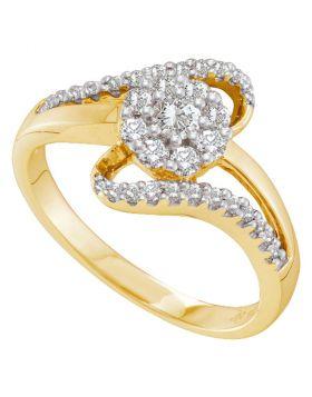 14kt Yellow Gold Womens Round Diamond Swirl Strand Flower Cluster Ring 1/2 Cttw
