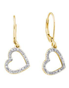 10kt Yellow Gold Womens Round Diamond Heart Dangle Earrings 1/20 Cttw