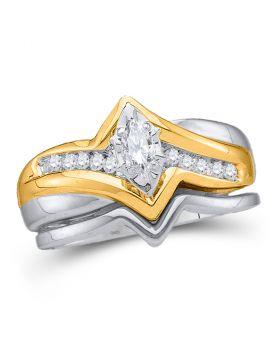 10kt White Gold Womens Marquise Diamond Bridal Wedding Engagement Ring Band Set 1/5 Cttw