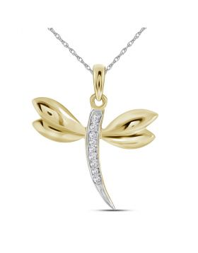 10k Yellow Gold Diamond-accented Dragonfly Womens Winged Bug Insect Charm Pendant .03 Cttw