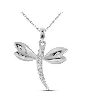 10k White Gold Diamond-accented Dragonfly Womens Winged Bug Insect Charm Pendant .03 Cttw