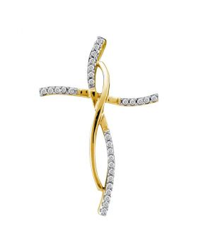 14kt Yellow Gold Womens Round Diamond Woven Infinity Cross Pendant 1/10 Cttw