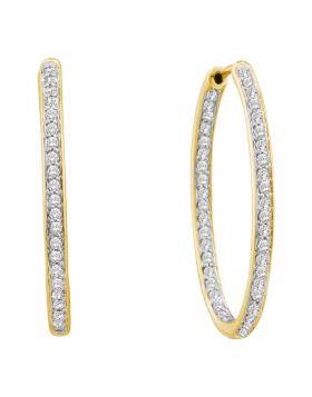 14kt Yellow Gold Womens Round Diamond Inside Outside Endless Hoop Earrings 1/2 Cttw