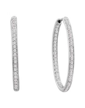 14kt White Gold Womens Round Diamond Inside Outside Endless Hoop Earrings 1/2 Cttw