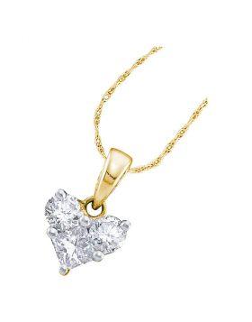 14kt Yellow Gold Womens Princess Diamond Heart Pendant 1/2 Cttw