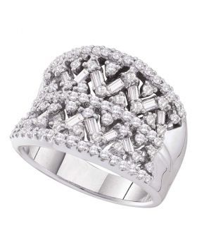14kt White Gold Womens Round Baguette Diamond Fashion Band Ring 1-1/4 Cttw