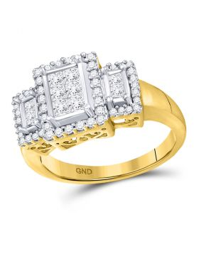 14kt Yellow Gold Womens Princess Diamond Triple Cluster Ring 3/4 Cttw