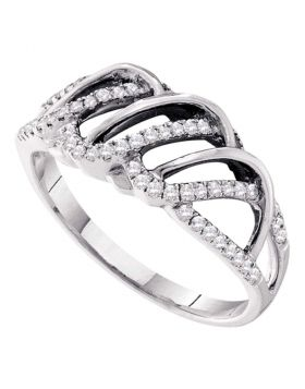 14kt White Gold Womens Round Diamond Openwork Stripe Band Ring 1/4 Cttw