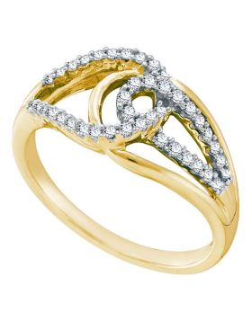 14k Yellow Gold Womens Round Diamond Lasso Loop Knot Fashion Band Ring 1/4 Cttw