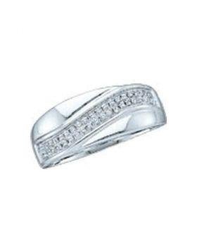 10kt White Gold Womens Round Diamond Contour Row Band Ring 1/6 Cttw