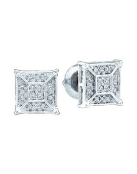10kt White Gold Womens Round Diamond Square Geometric Cluster Earrings 1/8 Cttw