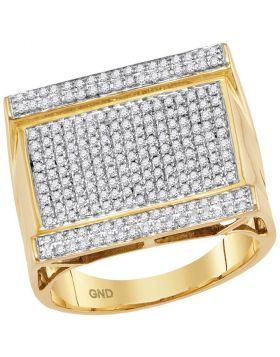 10KT YELLOW GOLD ROUND DIAMOND RECTANGLE CLUSTER RING 7/8 CTTW