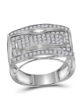 10KT WHITE GOLD ROUND PAVE-SET DIAMOND RECTANGLE CLUSTER FASHION RING 1.00 CTTW