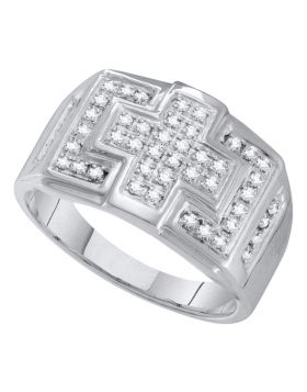 10KT WHITE GOLD ROUND DIAMOND SQUARE CROSS CLUSTER RING 1/3 CTTW
