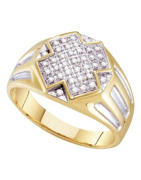 10KT YELLOW TWO-TONE GOLD ROUND DIAMOND CROSS CLUSTER RING 1/4 CTTW