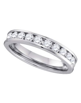 14kt White Gold Womens Round Channel-set Diamond 4mm Wedding Band 3/4 Cttw