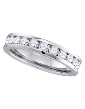 14kt White Gold Womens Round Channel-set Diamond 4.5mm Wedding Band 1.00 Cttw