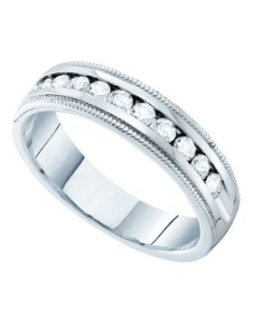 14kt White Gold Womens Round Channel-set Diamond Single Row Wedding Band 1/2