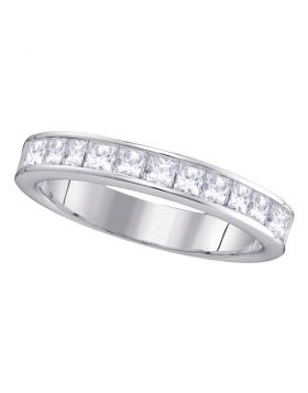 14kt White Gold Womens Princess Channel-set Diamond 4.5mm Wedding Band 1.00 Cttw