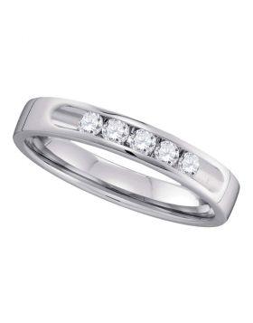 14kt White Gold Womens Round Channel-set Diamond 5-stone 3.5mm Wedding Band 1/4 Cttw