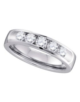14kt White Gold Womens Round Channel-set Diamond Single Row Wedding Band 3/4
