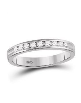 14kt White Gold Womens Round Channel-set Diamond Wedding Band 1/4 Cttw