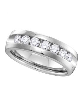 14kt White Gold Mens Round Channel-set Diamond Wedding Band Ring 1.00 Cttw