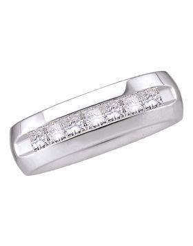 14kt White Gold Mens Princess Channel-set Diamond 6mm Wedding Band Ring 1.00 Cttw