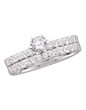 14kt White Gold Womens Round Diamond Solitaire Bridal Wedding Engagement Ring Band Set 7/8 Cttw