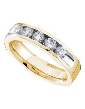 14kt Yellow Gold Womens Round Channel-set Diamond Single Row Wedding Band 1/2