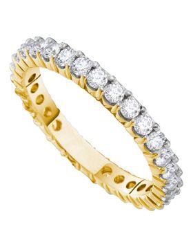 14kt Yellow Gold Womens Round Pave-set Diamond Eternity Wedding Band 1.00 Cttw