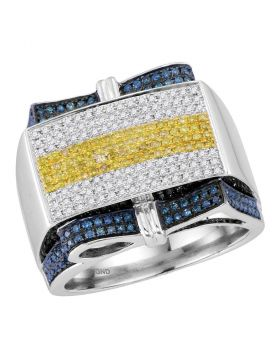 10KT WHITE GOLD  ROUND YELLOW BLUE COLOR ENHANCED DIAMOND RECTANGLE CLUSTER RING 1.00 CTTW